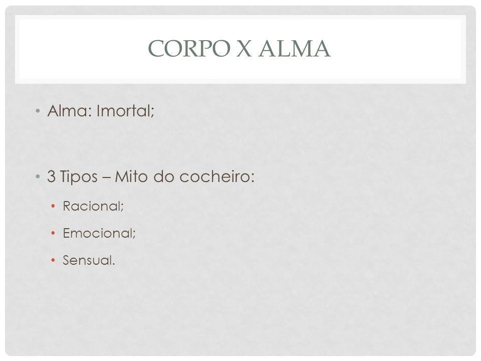 CORPO X ALMA • Alma: Imortal; • 3 Tipos – Mito do cocheiro: • Racional; • Emocional; • Sensual.