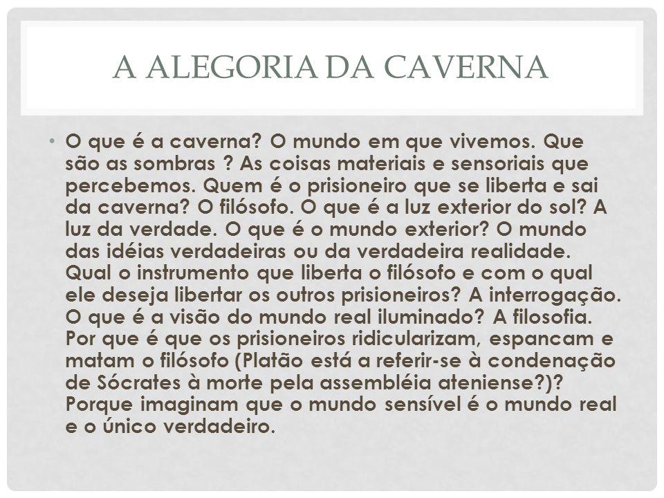 A ALEGORIA DA CAVERNA • O que é a caverna.O mundo em que vivemos.