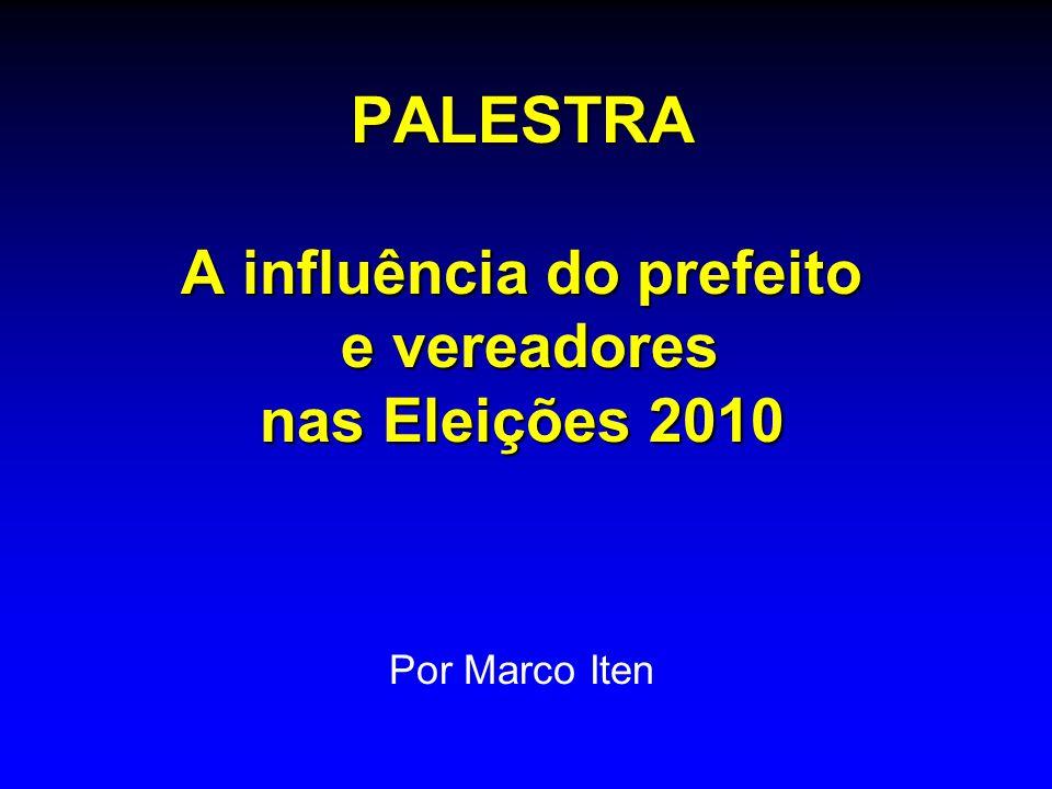 PALESTRA A influência do prefeito e vereadores nas Eleições 2010 Por Marco Iten