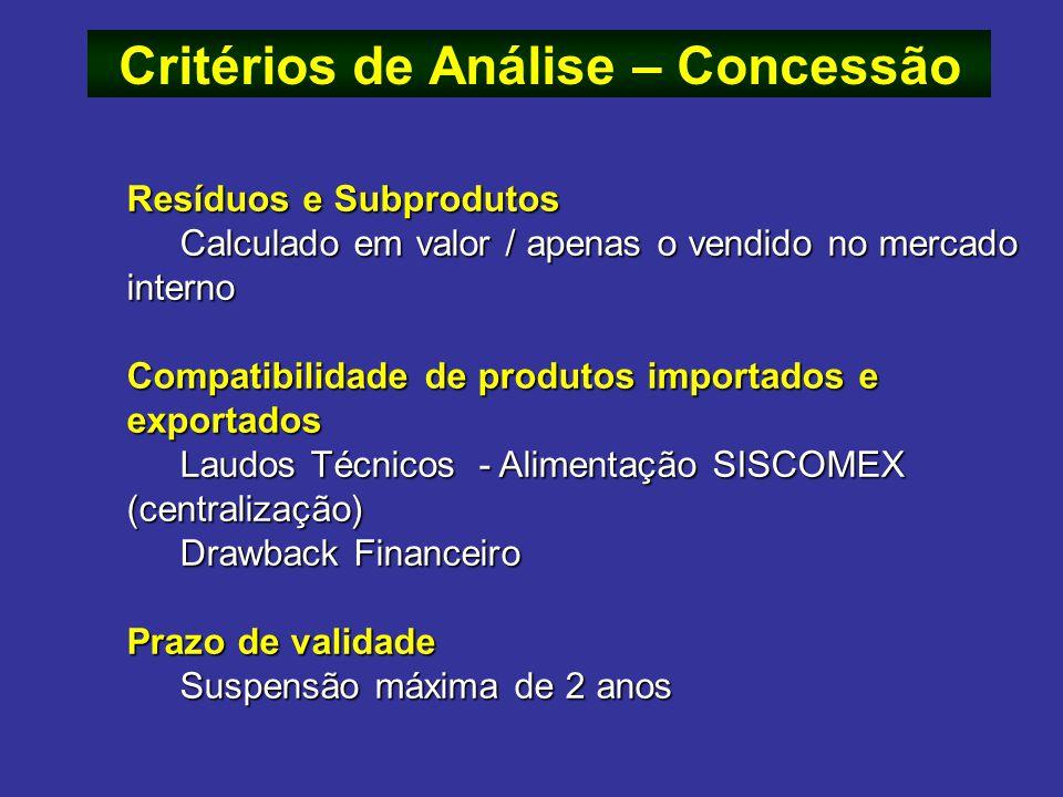Resíduos e Subprodutos Calculado em valor / apenas o vendido no mercado interno Compatibilidade de produtos importados e exportados Laudos Técnicos -