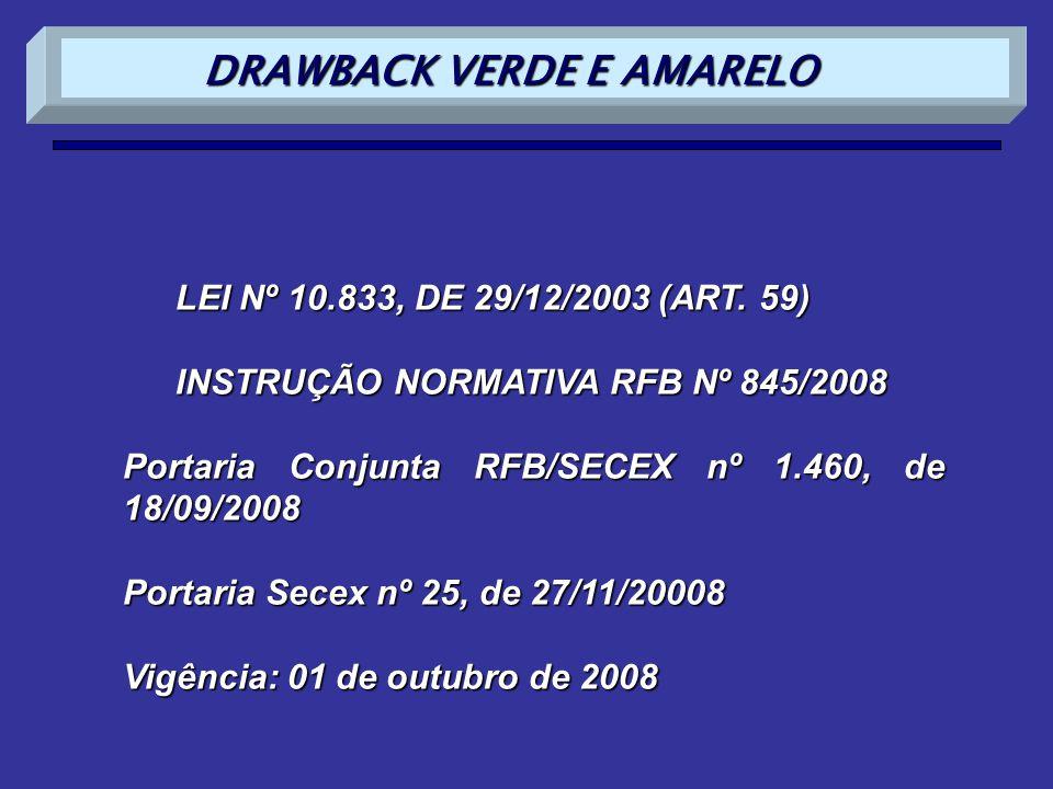 LEI Nº 10.833, DE 29/12/2003 (ART. 59) INSTRUÇÃO NORMATIVA RFB Nº 845/2008 Portaria Conjunta RFB/SECEX nº 1.460, de 18/09/2008 Portaria Secex nº 25, d