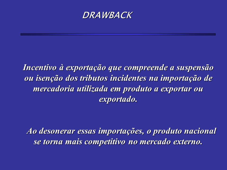 Incentivo à exportação que compreende a suspensão ou isenção dos tributos incidentes na importação de mercadoria utilizada em produto a exportar ou ex