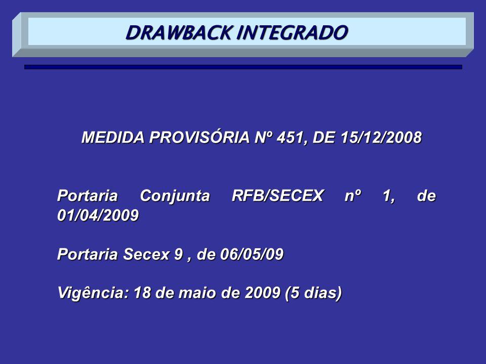 MEDIDA PROVISÓRIA Nº 451, DE 15/12/2008 Portaria Conjunta RFB/SECEX nº 1, de 01/04/2009 Portaria Secex 9, de 06/05/09 Vigência: 18 de maio de 2009 (5
