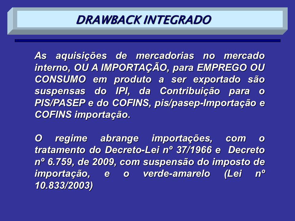 As aquisições de mercadorias no mercado interno, OU A IMPORTAÇÃO, para EMPREGO OU CONSUMO em produto a ser exportado são suspensas do IPI, da Contribu