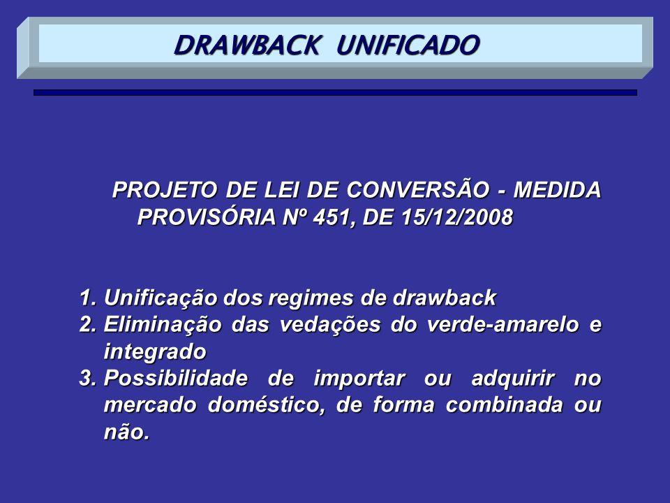PROJETO DE LEI DE CONVERSÃO - MEDIDA PROVISÓRIA Nº 451, DE 15/12/2008 1.Unificação dos regimes de drawback 2.Eliminação das vedações do verde-amarelo