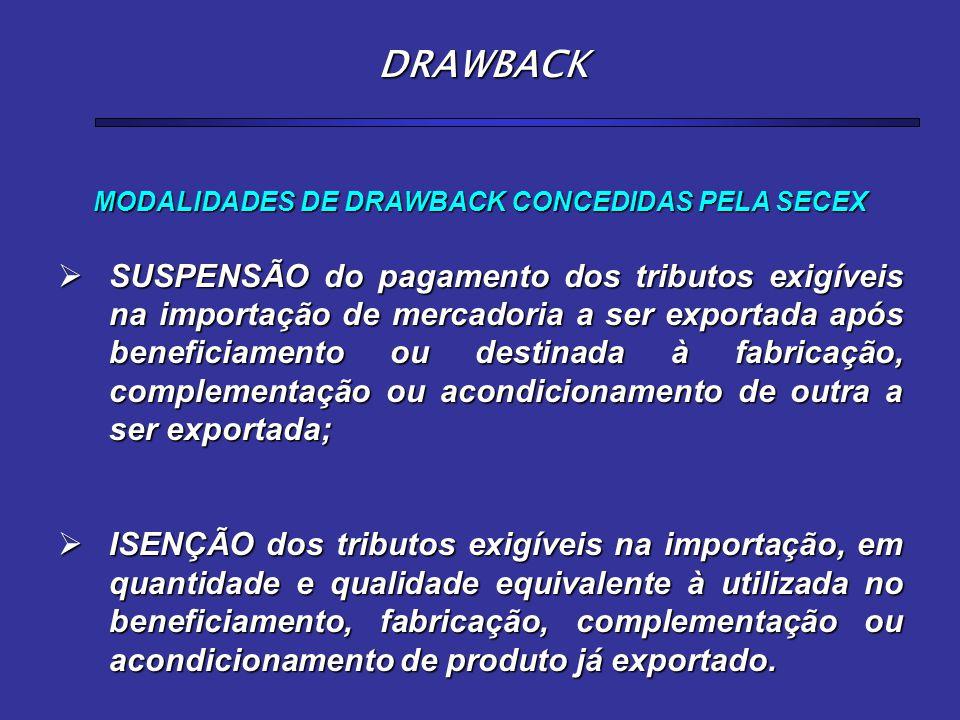 MODALIDADES DE DRAWBACK CONCEDIDAS PELA SECEX  SUSPENSÃO do pagamento dos tributos exigíveis na importação de mercadoria a ser exportada após benefic
