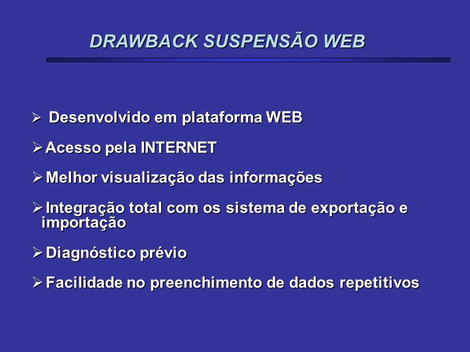  Desenvolvido em plataforma WEB  Acesso pela INTERNET  Melhor visualização das informações  Integração total com os sistema de exportação e import