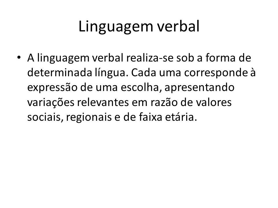Linguagem verbal • A linguagem verbal realiza-se sob a forma de determinada língua. Cada uma corresponde à expressão de uma escolha, apresentando vari