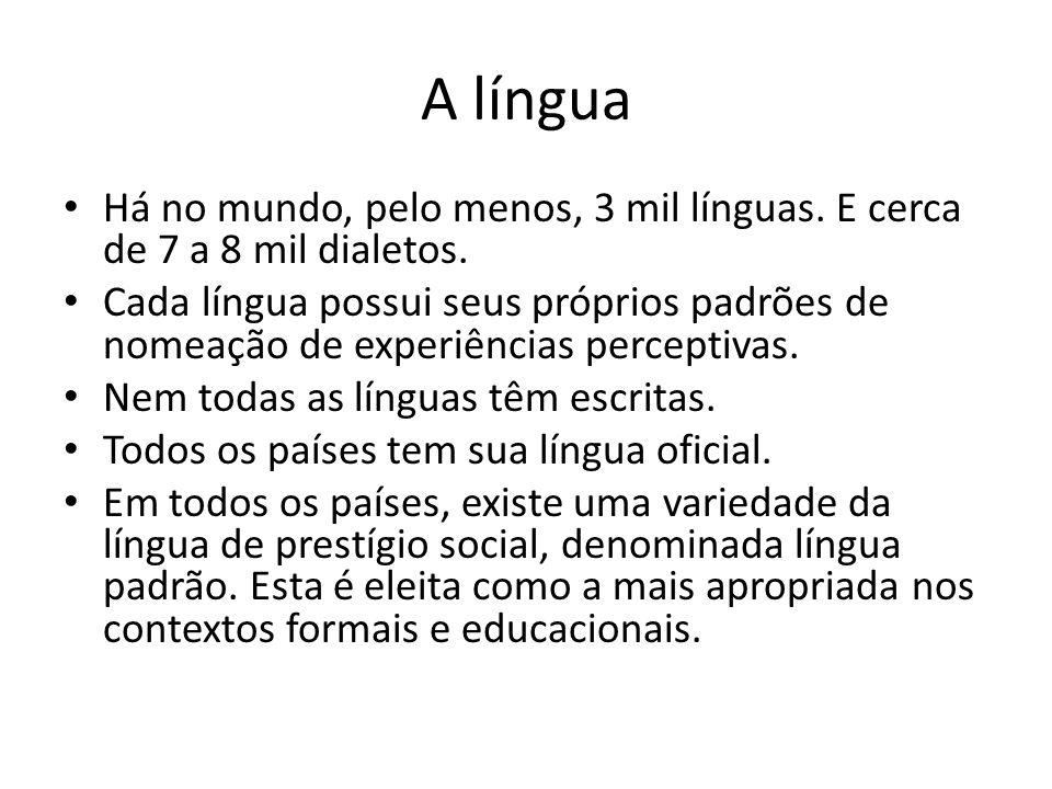 A língua • Há no mundo, pelo menos, 3 mil línguas. E cerca de 7 a 8 mil dialetos. • Cada língua possui seus próprios padrões de nomeação de experiênci