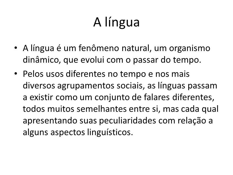 A língua • A língua é um fenômeno natural, um organismo dinâmico, que evolui com o passar do tempo. • Pelos usos diferentes no tempo e nos mais divers