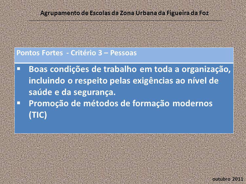 outubro 2011 Agrupamento de Escolas da Zona Urbana da Figueira da Foz Pontos Fortes - Critério 3 – Pessoas  Boas condições de trabalho em toda a organização, incluindo o respeito pelas exigências ao nível de saúde e da segurança.