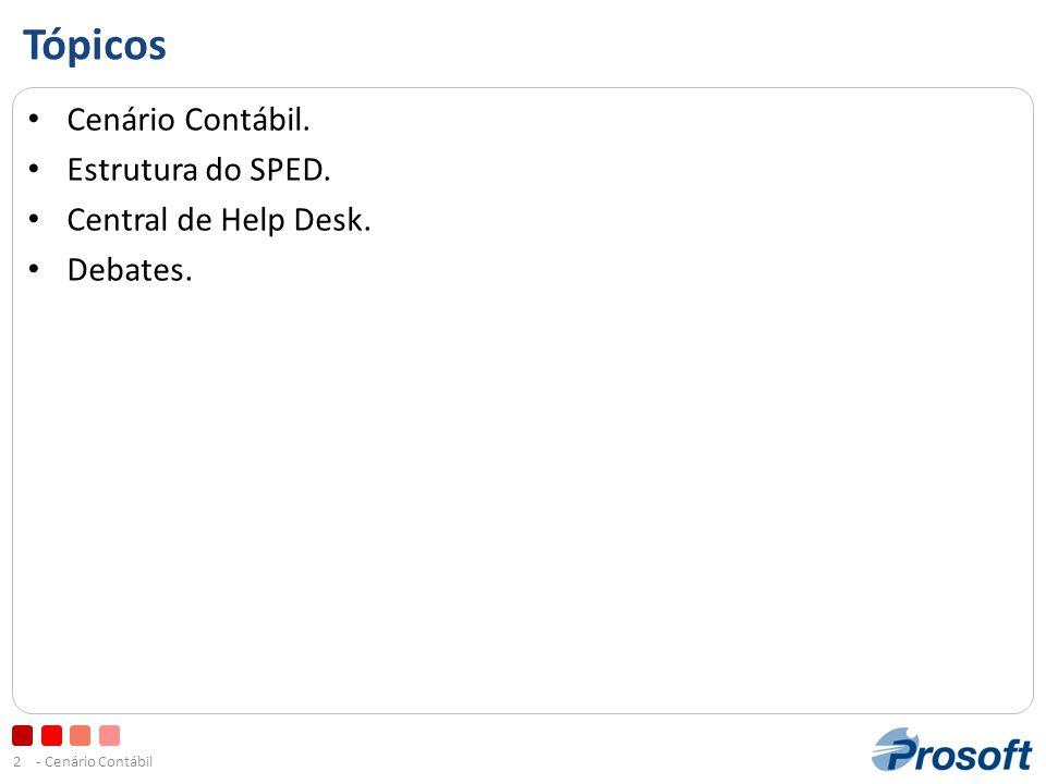 - Cenário Contábil2 Tópicos • Cenário Contábil.• Estrutura do SPED.