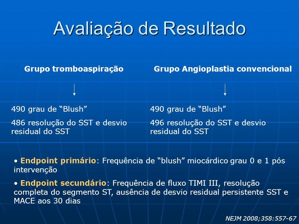 """Grupo tromboaspiração 490 grau de """"Blush"""" 486 resolução do SST e desvio residual do SST Grupo Angioplastia convencional 490 grau de """"Blush"""" 496 resolu"""