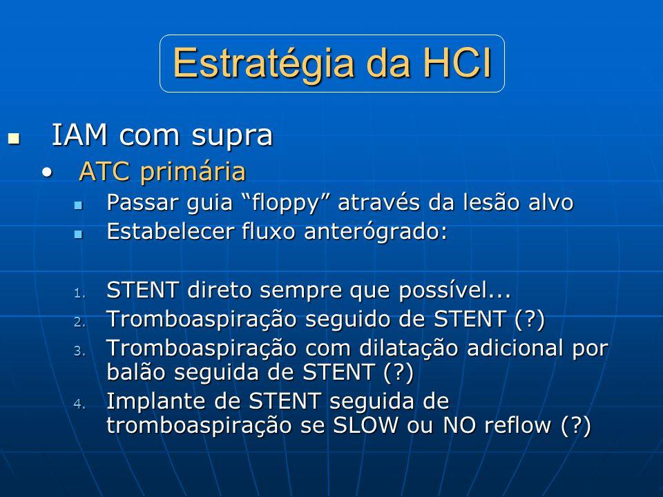 """Estratégia da HCI  IAM com supra •ATC primária  Passar guia """"floppy"""" através da lesão alvo  Estabelecer fluxo anterógrado: 1. STENT direto sempre q"""