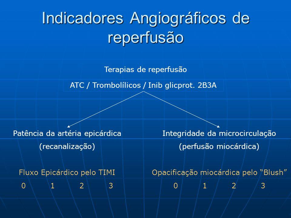 Terapias de reperfusão ATC / Trombolílicos / Inib glicprot. 2B3A Indicadores Angiográficos de reperfusão Patência da artéria epicárdica (recanalização