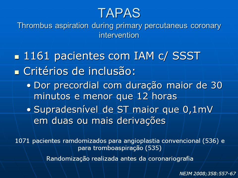 TAPAS Thrombus aspiration during primary percutaneus coronary intervention  1161 pacientes com IAM c/ SSST  Critérios de inclusão: •Dor precordial c