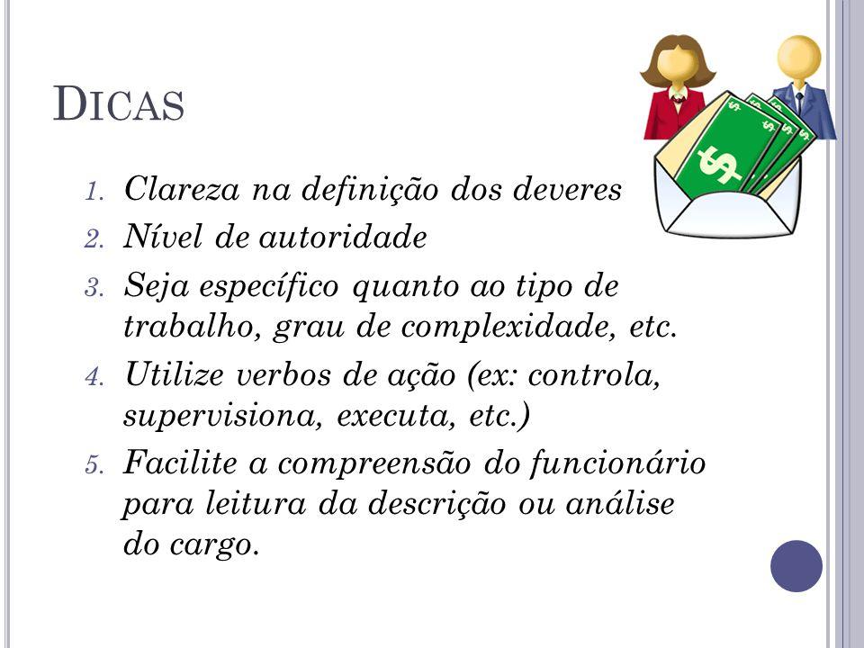 D ICAS 1. Clareza na definição dos deveres 2. Nível de autoridade 3. Seja específico quanto ao tipo de trabalho, grau de complexidade, etc. 4. Utilize