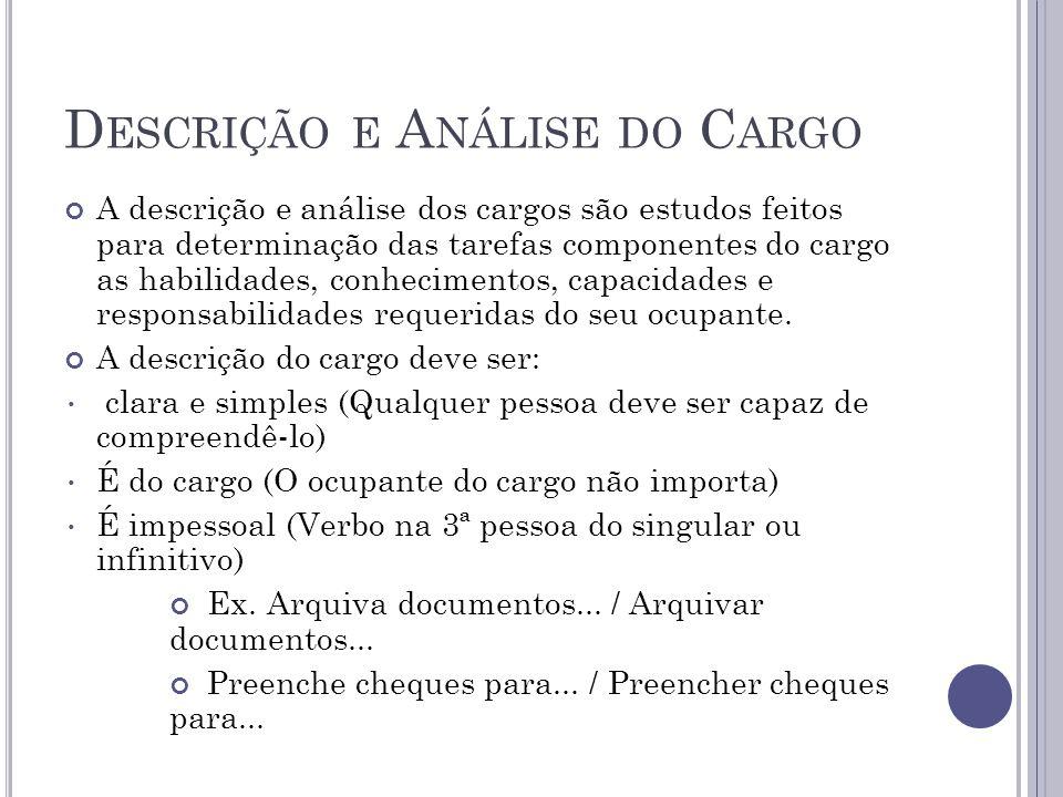 Descrição de cargo investiga: Detalhamento das atribuições O que o ocupante faz.