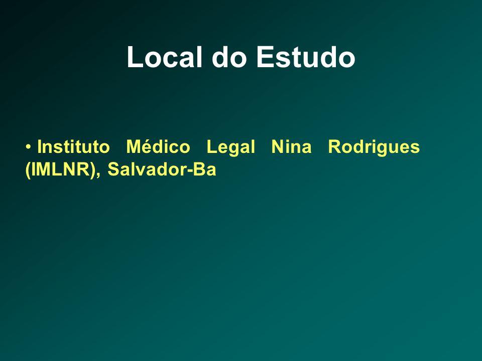 Amostra Critérios de inclusão • Cadáveres de indivíduos maiores de dezoito anos admitidos no IMLNR em Salvador-Ba, para realização de exame tanatológico