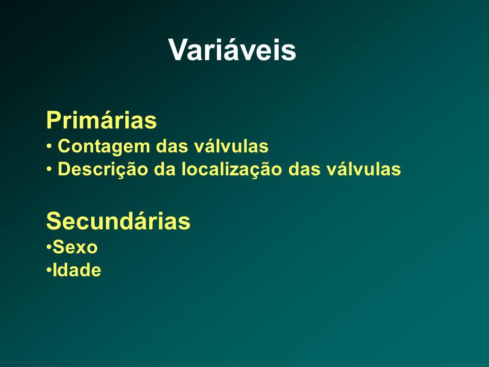 Variáveis Primárias • Contagem das válvulas • Descrição da localização das válvulas Secundárias •Sexo •Idade
