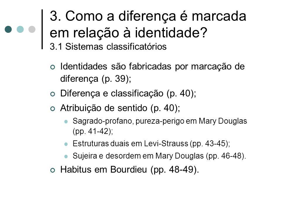 3. Como a diferença é marcada em relação à identidade? 3.1 Sistemas classificatórios Identidades são fabricadas por marcação de diferença (p. 39); Dif