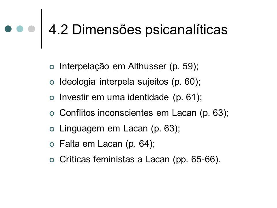 4.2 Dimensões psicanalíticas Interpelação em Althusser (p. 59); Ideologia interpela sujeitos (p. 60); Investir em uma identidade (p. 61); Conflitos in