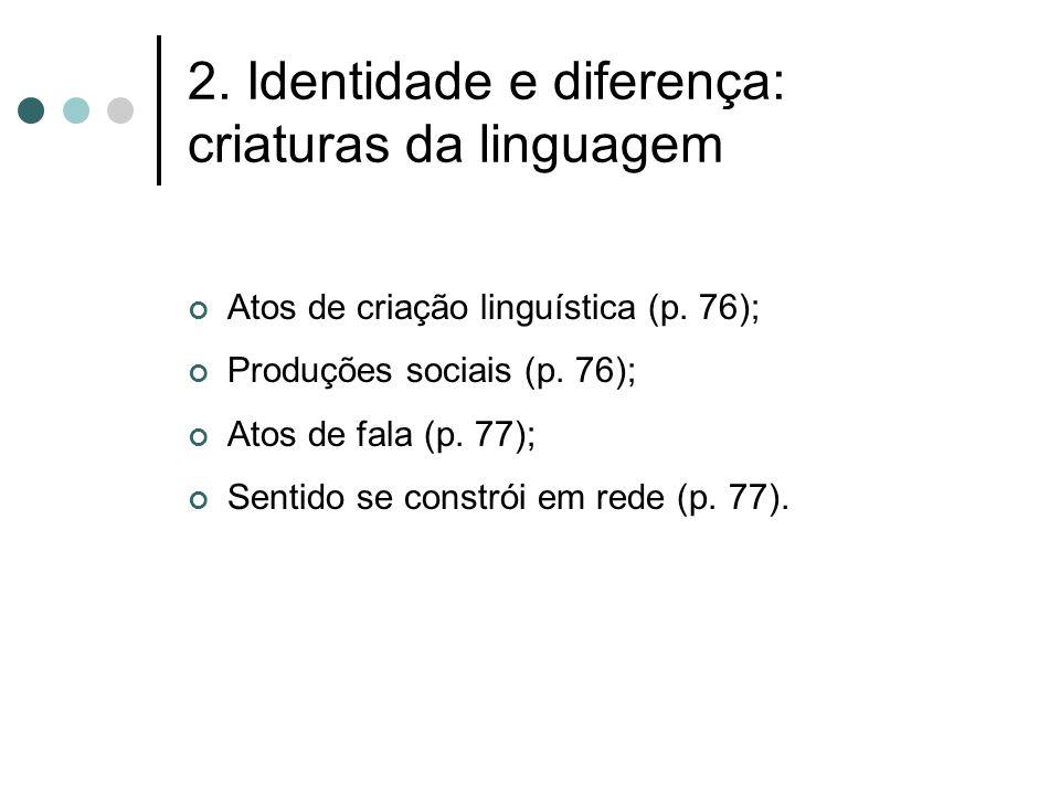 2. Identidade e diferença: criaturas da linguagem Atos de criação linguística (p. 76); Produções sociais (p. 76); Atos de fala (p. 77); Sentido se con
