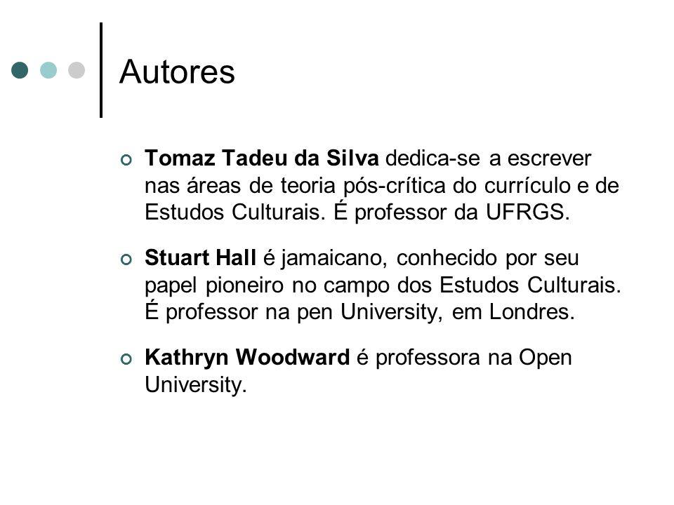 Autores Tomaz Tadeu da Silva dedica-se a escrever nas áreas de teoria pós-crítica do currículo e de Estudos Culturais. É professor da UFRGS. Stuart Ha