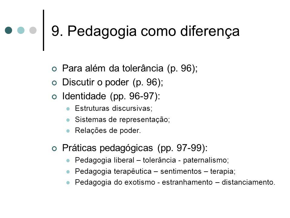 9. Pedagogia como diferença Para além da tolerância (p. 96); Discutir o poder (p. 96); Identidade (pp. 96-97):  Estruturas discursivas;  Sistemas de