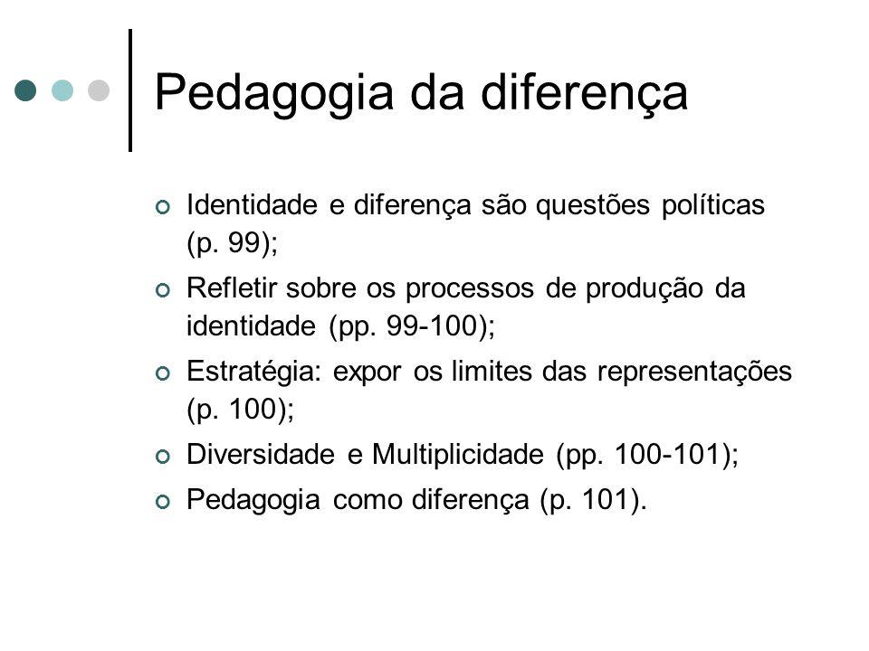Pedagogia da diferença Identidade e diferença são questões políticas (p. 99); Refletir sobre os processos de produção da identidade (pp. 99-100); Estr