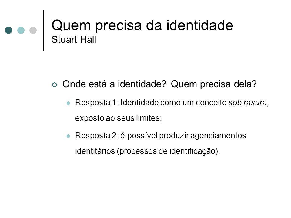 Quem precisa da identidade Stuart Hall Onde está a identidade? Quem precisa dela?  Resposta 1: Identidade como um conceito sob rasura, exposto ao seu