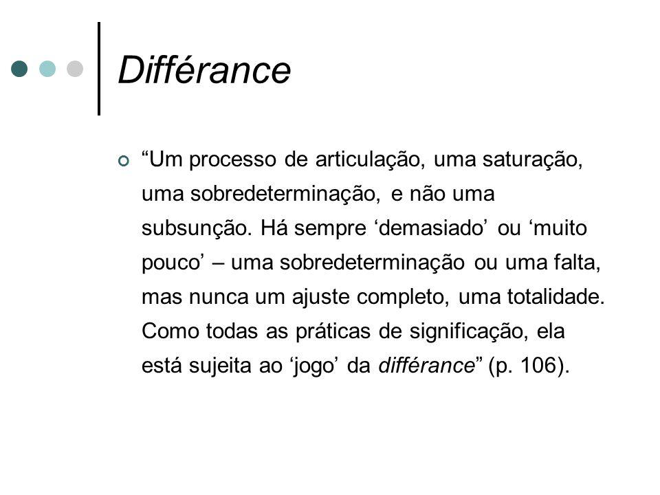 """Différance """"Um processo de articulação, uma saturação, uma sobredeterminação, e não uma subsunção. Há sempre 'demasiado' ou 'muito pouco' – uma sobred"""