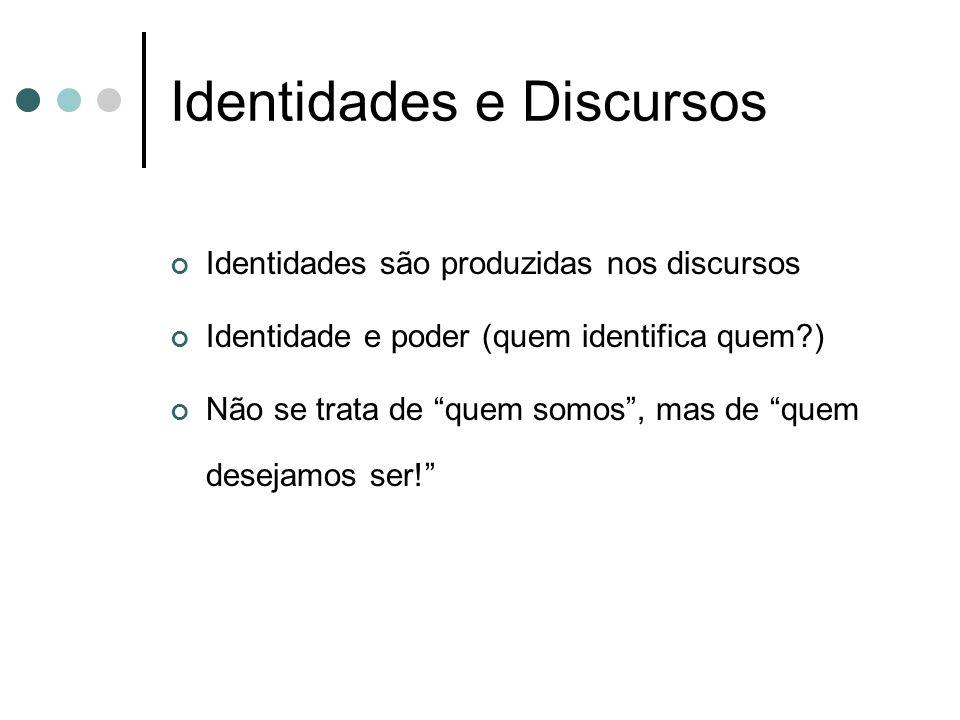 """Identidades e Discursos Identidades são produzidas nos discursos Identidade e poder (quem identifica quem?) Não se trata de """"quem somos"""", mas de """"quem"""