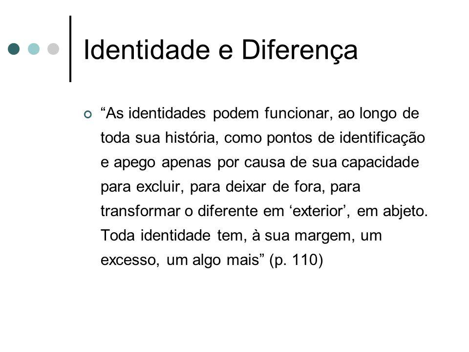 """Identidade e Diferença """"As identidades podem funcionar, ao longo de toda sua história, como pontos de identificação e apego apenas por causa de sua ca"""