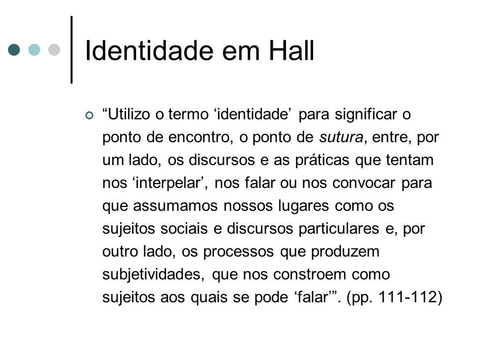 """Identidade em Hall """"Utilizo o termo 'identidade' para significar o ponto de encontro, o ponto de sutura, entre, por um lado, os discursos e as prática"""