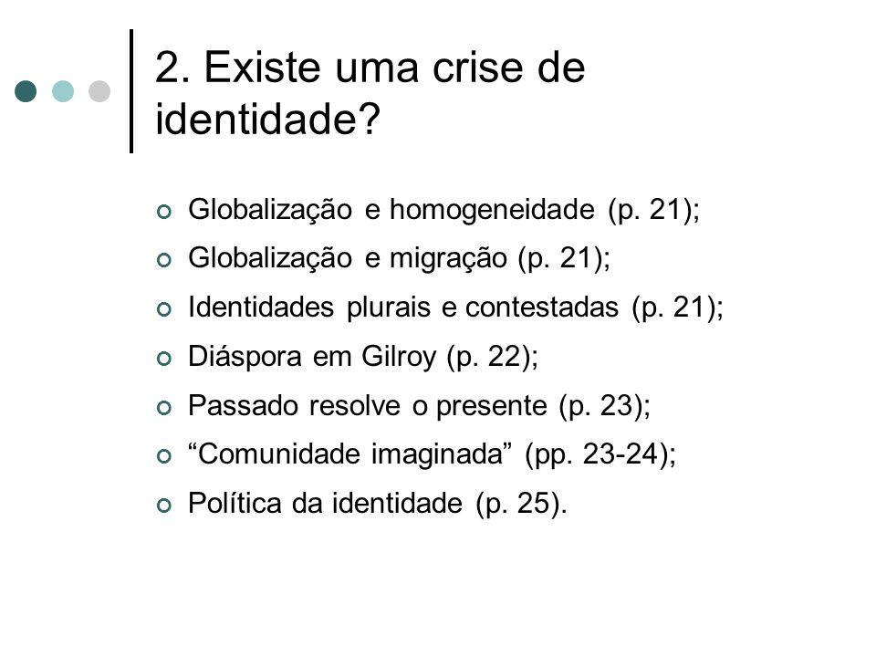 2. Existe uma crise de identidade? Globalização e homogeneidade (p. 21); Globalização e migração (p. 21); Identidades plurais e contestadas (p. 21); D