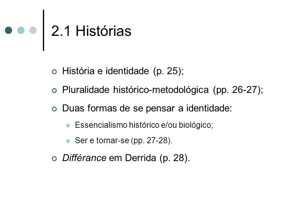 2.1 Histórias História e identidade (p. 25); Pluralidade histórico-metodológica (pp. 26-27); Duas formas de se pensar a identidade:  Essencialismo hi