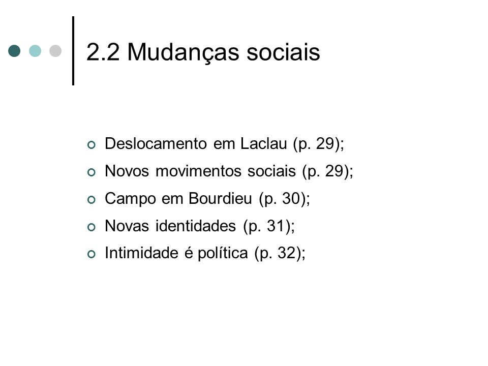 2.2 Mudanças sociais Deslocamento em Laclau (p. 29); Novos movimentos sociais (p. 29); Campo em Bourdieu (p. 30); Novas identidades (p. 31); Intimidad