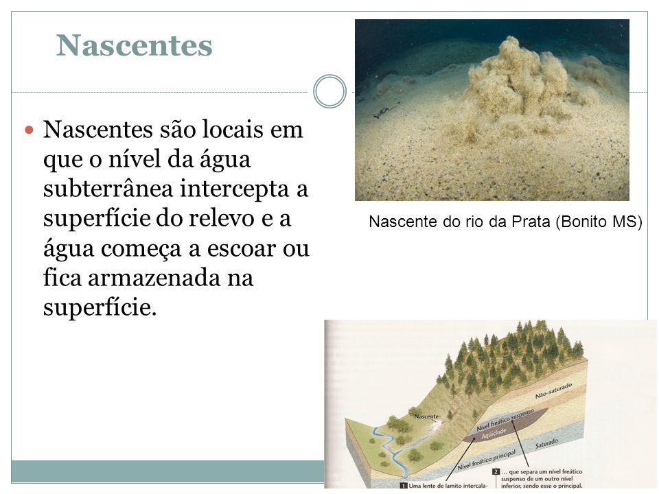 Nascentes  Nascentes são locais em que o nível da água subterrânea intercepta a superfície do relevo e a água começa a escoar ou fica armazenada na s