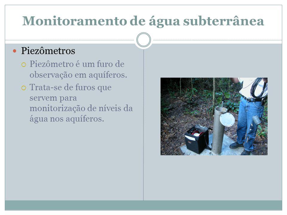 Monitoramento de água subterrânea  Piezômetros  Piezômetro é um furo de observação em aquíferos.  Trata-se de furos que servem para monitorização d
