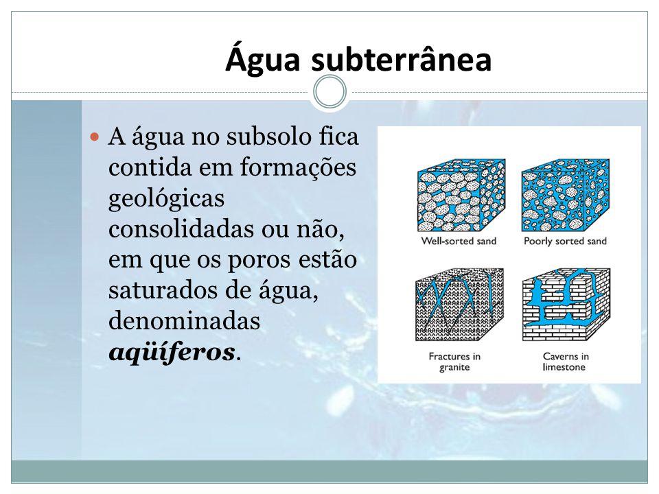 Água subterrânea  A água no subsolo fica contida em formações geológicas consolidadas ou não, em que os poros estão saturados de água, denominadas aq