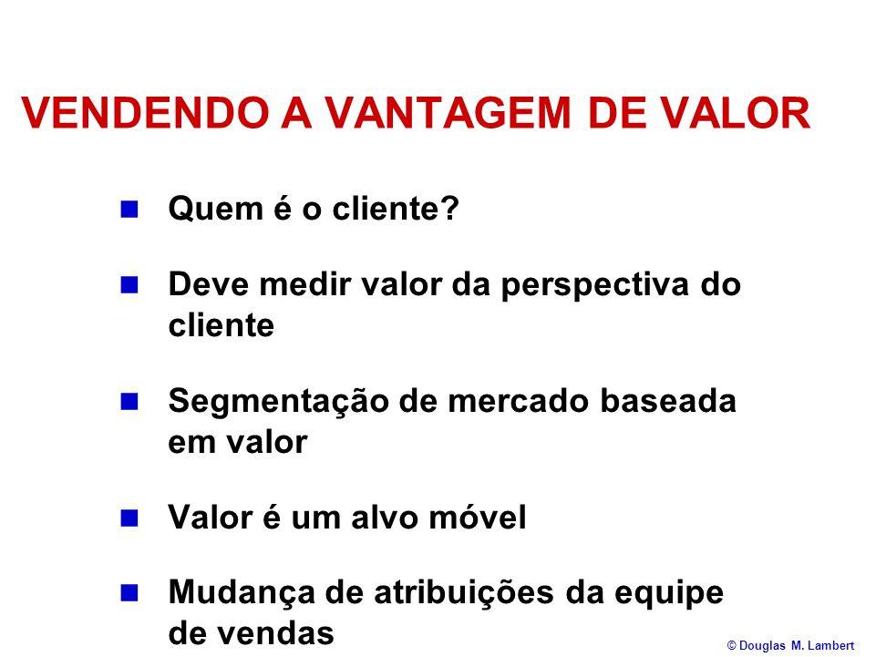 VENDENDO A VANTAGEM DE VALOR  Quem é o cliente?  Deve medir valor da perspectiva do cliente  Segmentação de mercado baseada em valor  Valor é um a
