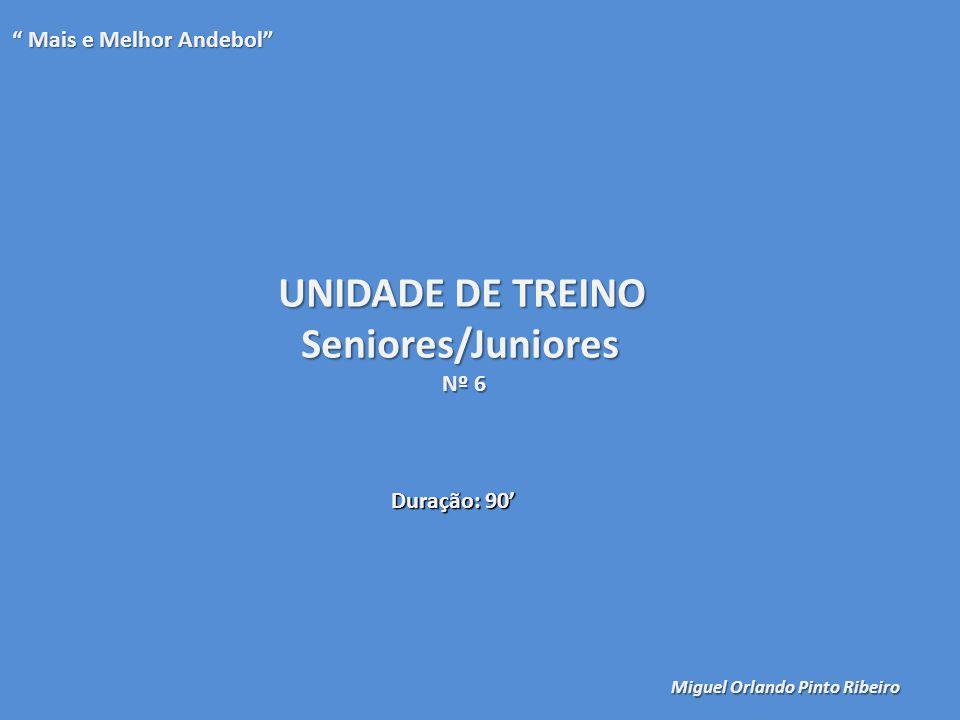 """UNIDADE DE TREINO Seniores/Juniores Nº 6 """" Mais e Melhor Andebol"""" Miguel Orlando Pinto Ribeiro Duração: 90'"""