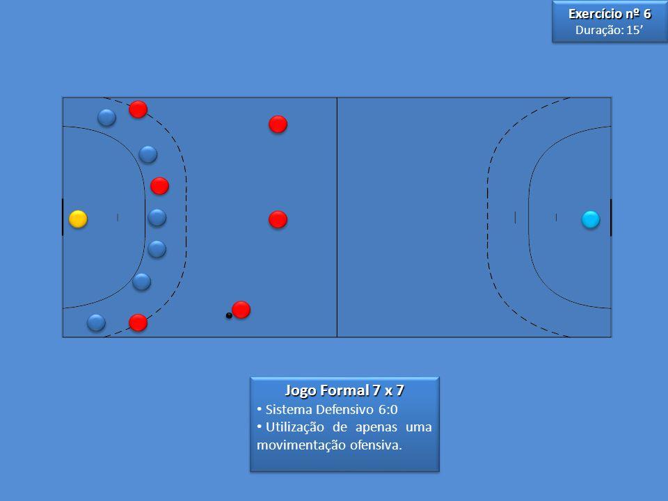 Jogo Formal 7 x 7 • Sistema Defensivo 6:0 • Utilização de apenas uma movimentação ofensiva. Jogo Formal 7 x 7 • Sistema Defensivo 6:0 • Utilização de