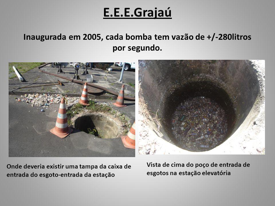 E.E.E.Grajaú Inaugurada em 2005, cada bomba tem vazão de +/-280litros por segundo. Onde deveria existir uma tampa da caixa de entrada do esgoto-entrad