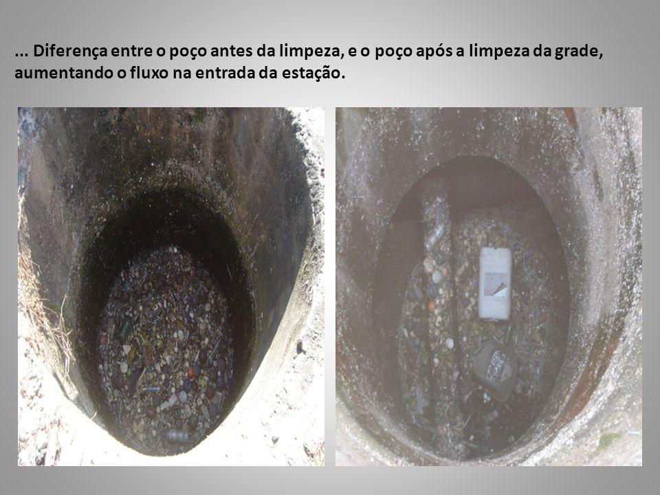 ... Diferença entre o poço antes da limpeza, e o poço após a limpeza da grade, aumentando o fluxo na entrada da estação.