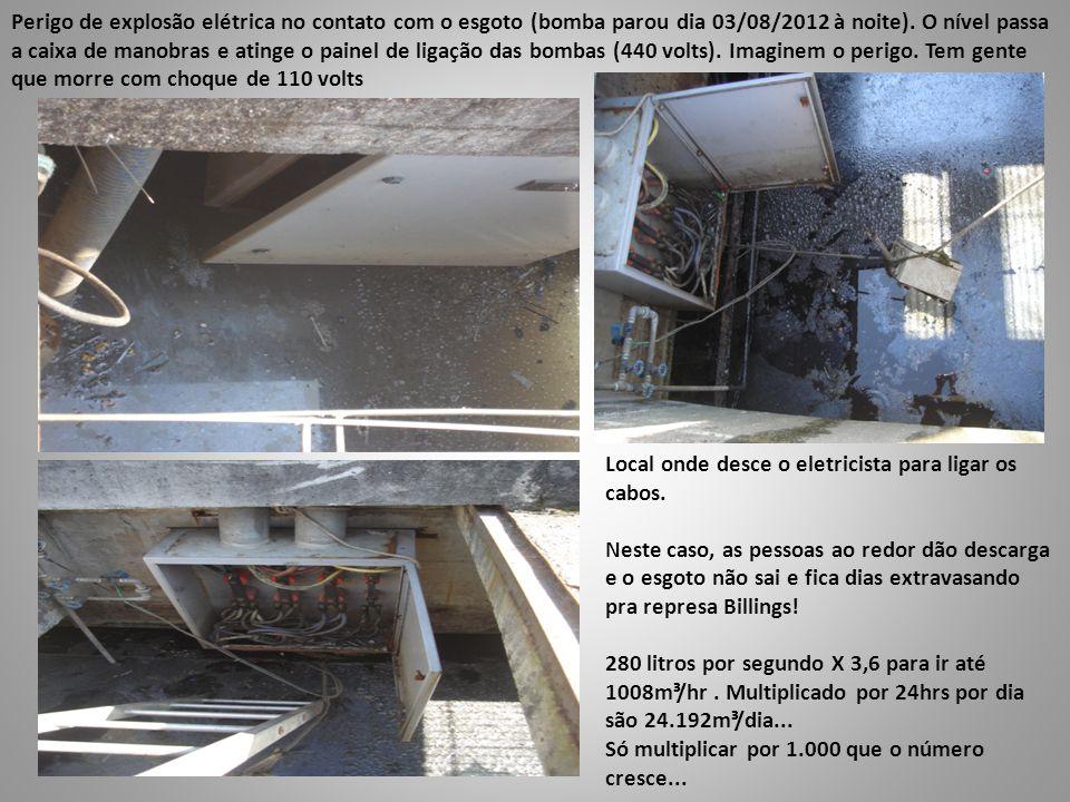 Perigo de explosão elétrica no contato com o esgoto (bomba parou dia 03/08/2012 à noite). O nível passa a caixa de manobras e atinge o painel de ligaç