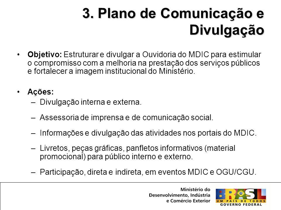 •Objetivo: Estruturar e divulgar a Ouvidoria do MDIC para estimular o compromisso com a melhoria na prestação dos serviços públicos e fortalecer a ima