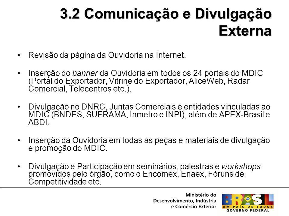 •Revisão da página da Ouvidoria na Internet. •Inserção do banner da Ouvidoria em todos os 24 portais do MDIC (Portal do Exportador, Vitrine do Exporta
