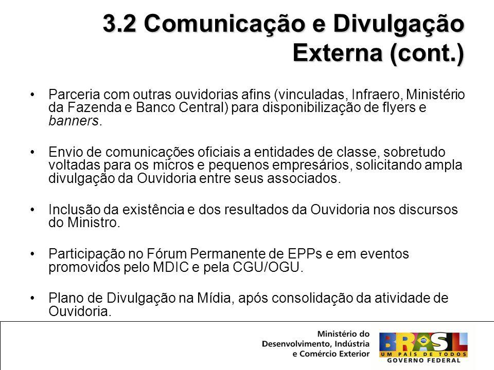 •A partir da aprovação do Ministro Miguel Jorge (Novembro) – Inserção da Ouvidoria nas comunicações internas aos servidores (Boletins de Serviço e Relatório do Portal do Exportador, entre outros).